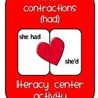 """A great way to help your students practice contractions in a literacy center! This activity helps students practice """"had"""" contractions. There is al..."""