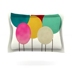 Celebration by Bri Buckley Cotton Pillow Sham, Rainbow Circles