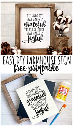 Create a DIY Farmhouse sign with this free farmhouse printable. A fun and easy way to make your own farmhouse sign without having to cut any wood.