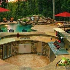 Love the circular BBQ, Outdoor kitchen and the built in fire pit. Dream Backyard