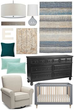 Nursery Inspiration: Neela Hand Knotted Jute Rug. Beautiful neutral colors for a baby girl's nursery. Shades of muted blue, gray, black, emerald green, and aqua. Natural wood wall decor and growth wall ruler.