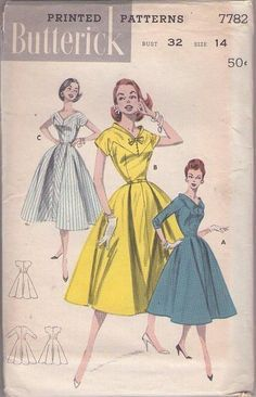 MOMSPatterns Vintage Sewing Patterns - Butterick 7782 Vintage 50's Sewing Pattern GORGEOUS & UNIQUE Rockabilly Pie Collar Flared Bias Skirt Party Dress, 3 Styles Size 14