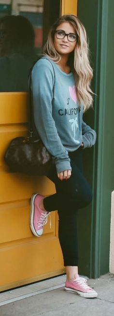 Pink Sneakers Outfit Idea by Cara Loren. Style college. Relax