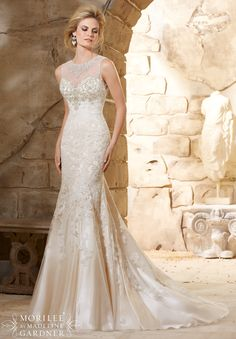 2789 Bridal Gowns / Dresses Crystal Beaded Bodice Meets the Cascading Alencon Lace Appliques on Net Over Soft Satin