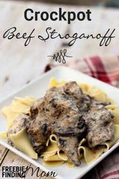 Beef Stroganoff Crockpot Recipe - How does a delicious beef stroganoff sound for dinner tonight? Treat your family to tender beef stew meat infused with spices and coated with a creamy Greek yogurt sauce. Then serve a heaping spoonful (or two) on top of egg noodles and enjoy.
