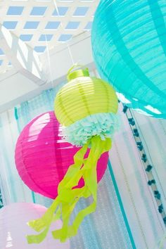Mermaid or beach themed party -- LOVE the diy jellyfish lanterns.