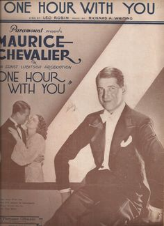 One Hour with You, Vintage Sheet Music, Paramount Movie, Maurice Chevalier, Leo…