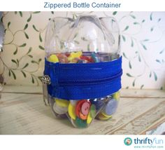 Turn two pop bottles into a zippered container.