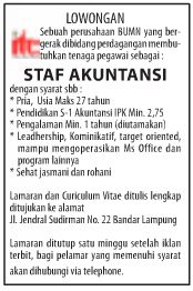 Lowongan Kerja Staff Akuntansi Bumn Di Lampung Karir Lampung