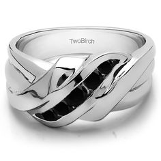 Sterling Silver Swirl StyleMen's Wedding Ring With Black Diamonds (0.25 Cts.) (Sterling Silver, Size 12.5), White (solid)