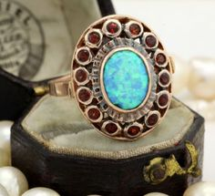 Antique C. 1920 Art Deco 14k Rose Gold Carved Black Opal Garnet Ring! in Jewelry & Watches, Vintage & Antique Jewelry, Fine, Art Nouveau/Art Deco 1895-1935, Rings | eBay