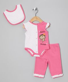 Take a look at this Pink Monkey Layette Set by Petite Bears on #zulily today!