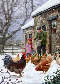 Christmas Scenes, Christmas Art, Vintage Christmas, Christmas Landscape, Christmas Paintings, Christmas Animals, Book Illustration, Digital Illustration, Illustrations
