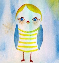 Watercolor Bird with Shoes