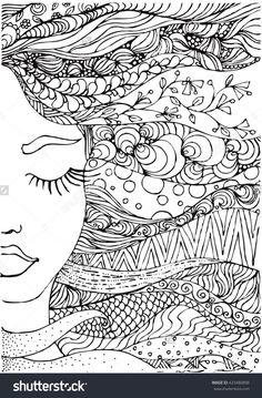 Drawing Doodles Ideas ink doodle womans face and flowing coloring page zendala Doodle Art Drawing, Zentangle Drawings, Art Drawings, Zentangles, Doodle Doodle, Doodle Books, Doodle Pages, Doodle Art Journals, Doodle Ideas
