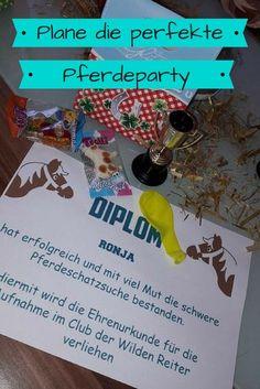 Pferde Geburtstag Geburtstagtagsparty mit Schatzsuche, Diplom und Kuchen schaut vorbei