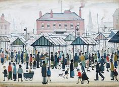 Lowry Market Scene North, from Ravensburger - Free Delivery on orders over Pop Art Images, English Artists, British Artists, Art Uk, Naive Art, Canvas Prints, Art Prints, Illustrations, Urban Landscape
