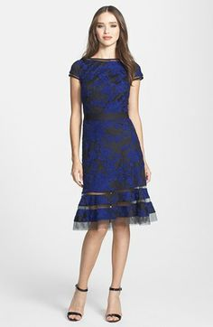 Tadashi Shoji Embroidered Lace Fit & Flare Dress | Nordstrom.  I would like this if the skirt wasn't weird.