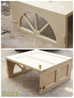 Another great door into coffee table idea. Check out the fantastic sunburst window turned into a leg. We have lots of fantastic doors with lots of character that would be perfect for a project like this.