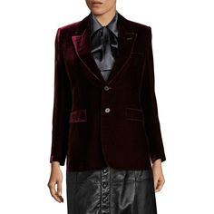 Saint Laurent Velvet Angie Two-Button Blazer (57.713.050 VND) ❤ liked on Polyvore featuring outerwear, jackets, blazers, apparel & accessories, bordeaux, yves saint laurent, velvet jacket, blazer jacket, tailored blazer and velvet blazer