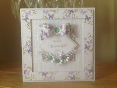 6x6 Card, made by me, using Sentimentally Yours Butterfly Montage Stamps and Sentimentally Yours Vintage Frame Sentiments Stamps :-)