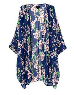 Women's Cardigan Kimono Floral Vintag… Cardigan Floral, Kimono Floral, Cardigan Kimono, Chiffon Kimono, Floral Print Shirt, Sheer Chiffon, Floral Chiffon, Kimono Top, Print Chiffon