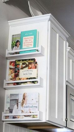 Use shelves on the sides of your cabinets for cookbooks! #homeorganization #kitchenorganization #kitchenstorage