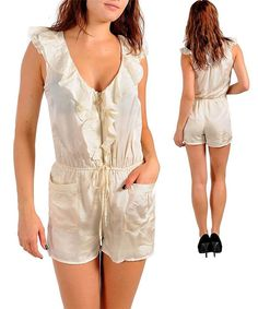 SEXY IVORY ZIP UP RUFFLED DRAWSTRIP POCKET JUMPER SHORTALL CLEAVAGE ROMPER SET M #BNB #Romper