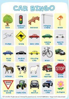 Car bingo board - Great for our road trip in June!!