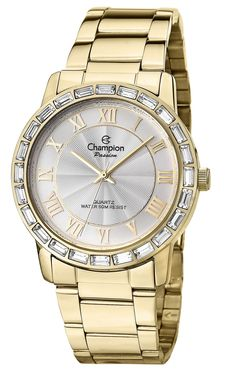 Champion CN28857H Women's Watch Gold-Tone Stainless Steel Band And Silver Sunray Dial