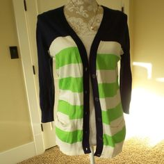 GAP Blue and Green Button Up Cardigan Small Gap Blue and Green colorblocked cardigan. Lightweight. 100% Cotton. Three quarter sleeves. GAP Sweaters Cardigans