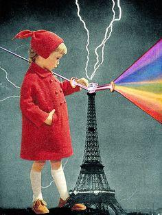 Eugenia Loli // lightning bolt // transformation // prism light rainbow // Eiffel Tower // dark side of the moon