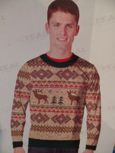Mens Shirt Faux Real UGLY Sweater L/S T Shirt NEW Reindeer Christmas Trees 2XL  #FauxReal #Shirt