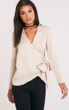 Adrienna Champagne Tie Side Satin Shirt