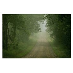 "Angie Turner ""Foggy Road"" Forest Decorative Door Mat"