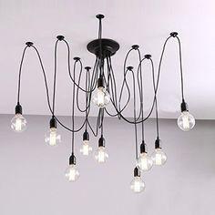 Buyee® 10 Lights Creative Fairy Vintage Edison Lamp Shade Multiple Adjustable DIY Ceiling Spider Pendent Lighting Chandelier (10 lights,bulbs not included)