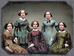 The Clark sisters,circa 1850 by klimbims on DeviantArt Victorian Era Fashion, 1850s Fashion, Victorian Life, Victorian Photos, Victorian Women, Historical Clothing, Historical Photos, Old Pictures, Old Photos