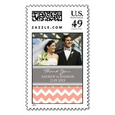 Grey Coral Chevron Thank You Wedding Stamps