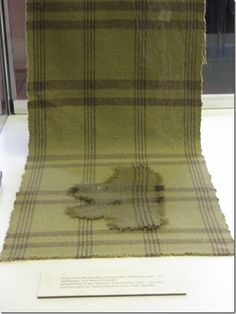 Figure 5- Woolen cloth with brown stripes, from the ancient salt mine at Hallstatt 10th-9th BCE housed presently at the Naturhistorisches Museum, Vienna, Austria.