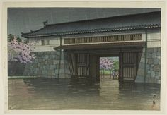 Spring Rain at Sakurada Gate (Sakuradamon no harusame) Hasui Kawase