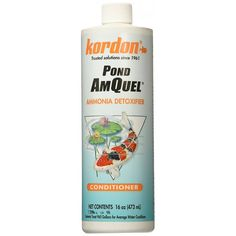 🐟 16oz Kordon Pond AmQuell is a one step Liquid Chlorine, Chloramine, And Ammonia Remover. Nontoxic To Fishes and Other Aquatic Life. Fast Acting Within Five Minutes, Simple To Use.