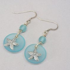 Light Blue Sea Glass Earrings Sterling Silver by BayMoonDesign
