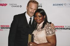 "Kevin Costner & his ""Black or White"" co-star Octavia Spencer at the Movies for Grownups Awards Gala"