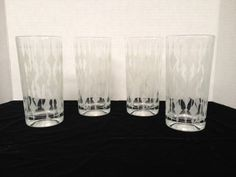 4- 12 oz Retro 1960s Starlight frosted white Diamond pattern drinking glasses by rummagechicboutique on Etsy