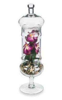 Apothecary Jar with Orchid. Like this.idea. now I know what to do with the three jars I found at a yard sale and all three for 5 bucks