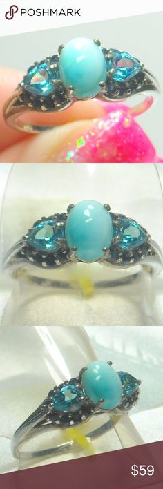 NWT Larimar, Blue Topaz & Blue Sapphire Ring Natural Larimar, Blue Topaz & Blue Sapphire Ring, Platinum Plated .925 Sterling Silver Size 9 Jewelry Rings