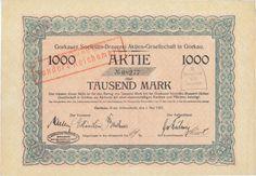 Gorkauer Societäts-Brauerei Kreis Schweidnitz   Aktie 1000 Mark 1.5.1923