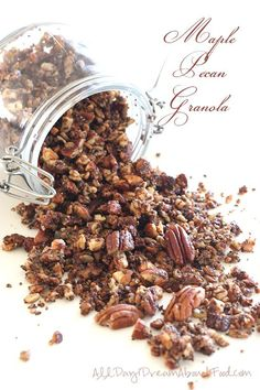 """Low carb snacks to go """"This low carb maple pecan granola is packed with nutrients and great flavour. It makes a delicious grain-free breakfast or on-the-go snack! September has been a busy month for me and I am tired, my..."""""""