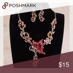 Fashion Butterfly Rhinestone Necklace&Earring Set Brand new without tags! Gorgeous statement necklace accented with rhinestones! Jewelry Necklaces