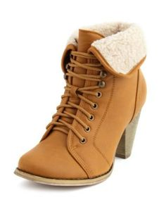 sherpa-cuff lace-up heel bootie